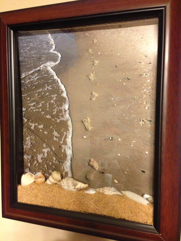 Photo I took of my daughter's footprints in the sand, placed in a shadow box with sand and seashells.