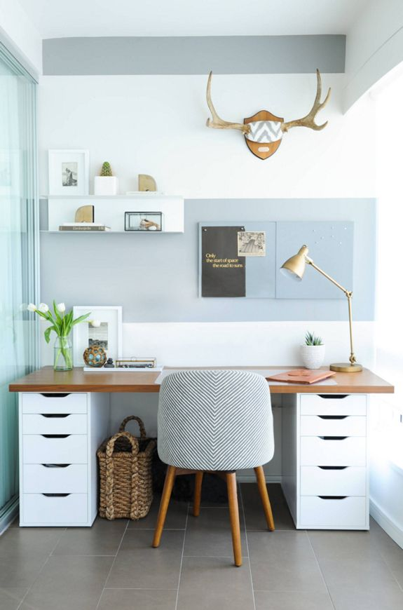 office work desk. Balance A Wooden Board Across Two IKEA Storage Cabinets, And Boom\u2014you Have An Instant Desk With Plenty Of Room To Stash Your Office Supplies. Work