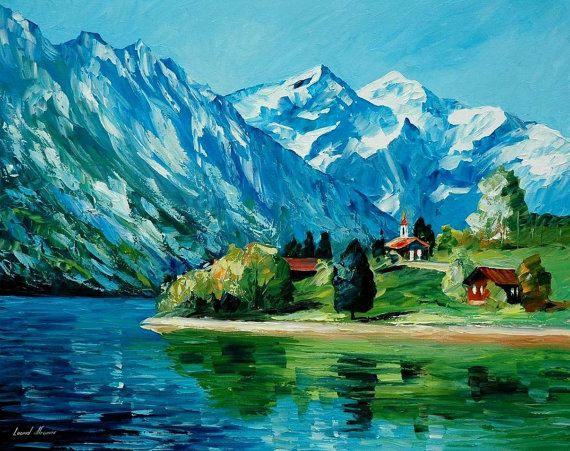 """Icy Mountain — PALETTE KNIFE Landscape Oil Painting On Canvas By Leonid Afremov - Size: 40"""" x 30"""""""