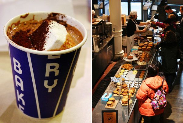 The City Bakery in NYC.  The entire month of February they host their Annual Hot Chocolate Festival.   A calendar full of different flavors like Fresh Ginger Hot Chocolate, Chili Pepper Hot Chocolate, Spicy Fig & Creamy Stout topped off with in house made marshmallows.  So good!