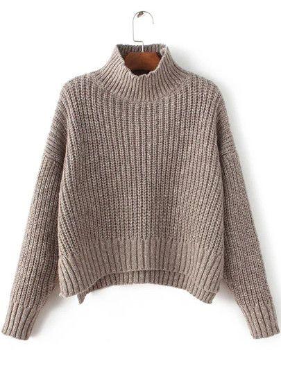 Coffee Mock Neck Drop Shoulder Dip Hem Sweater -SheIn(Sheinside) Mobile Site