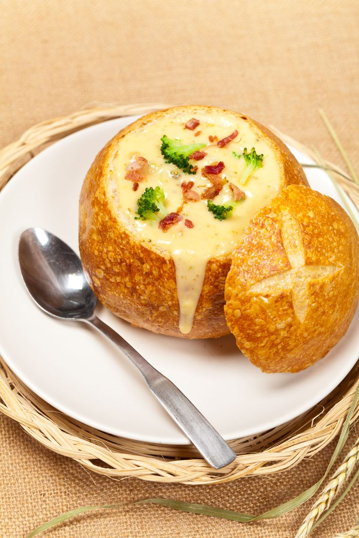 One-Pot Soup Recipe: Bacon Broccoli Cheddar Bread Bowl.  Had this at my baby shower.  It was really good!