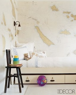 Designer Kerry Joyce used maps from the California Map and Travel Center. - Almost looks like the map wallpaper from Kravet: Globe Room, Daybed, Map Wallpaper, Dawidek S Room, Bunk Room, Boys Room, Bedroom Ideas