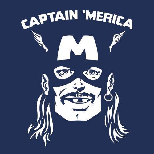 Captain Merica America Mullet Hero T-Shirt