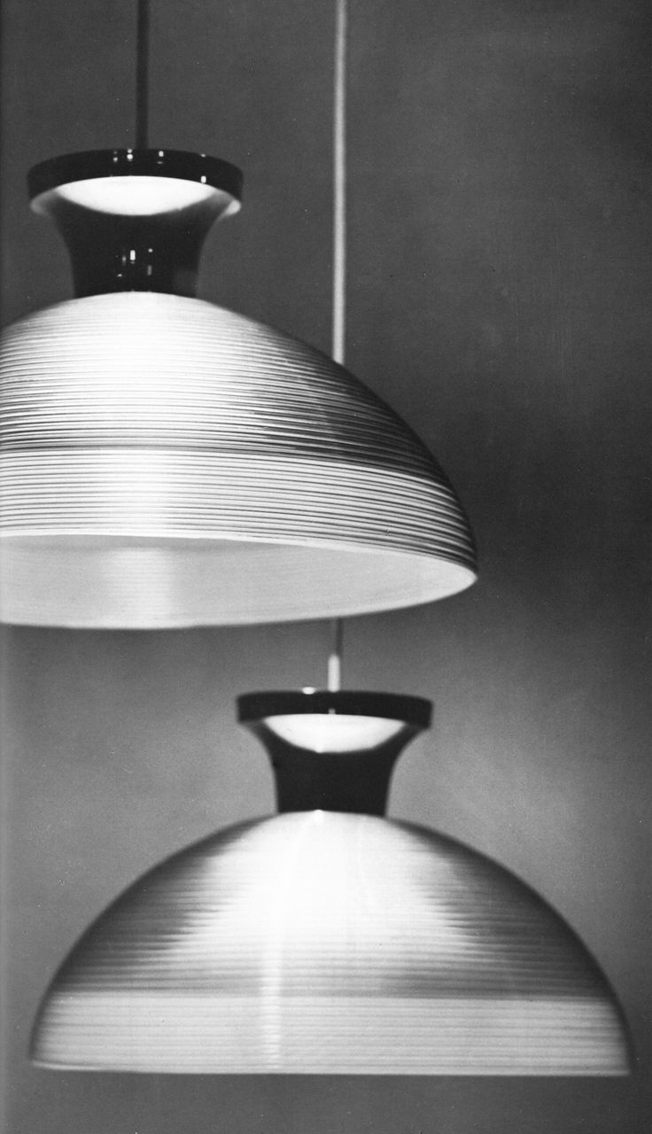 Pendant lights made with Rotaflex technique, designed by Lisa Johansson-Pape for Stockmann-Orno, made by Plastex, 1966.