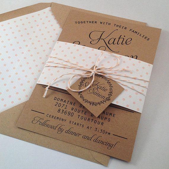 Kraft nozze invito Suite, Kraft interno foderato buste, Bakers Twine, Blush Pink Polka Dot inviti di nozze, invito Bundle {deposito}