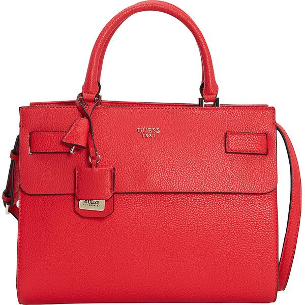 GUESS Cate Satchel Satchel ($100) ❤ liked on Polyvore featuring bags, handbags, manmade handbags, red, man satchel bag, flap purse, handbag satchel, satchel handbags and man bag