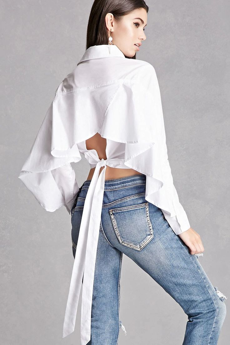 A poplin-weave cropped shirt featuring a tulip back with self-ties, a button placket, basic collar, seam-stitched front, and long batwing sleeves. This is an independent brand and not a Forever 21 branded item.