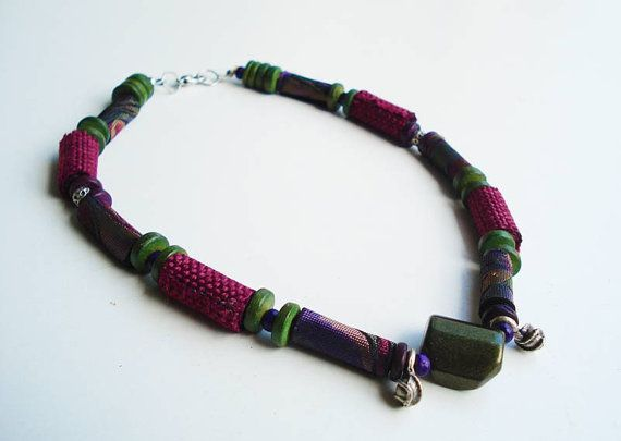 Varman  ooak handrolled fiber bead necklace magenta by Joogr, €26.00
