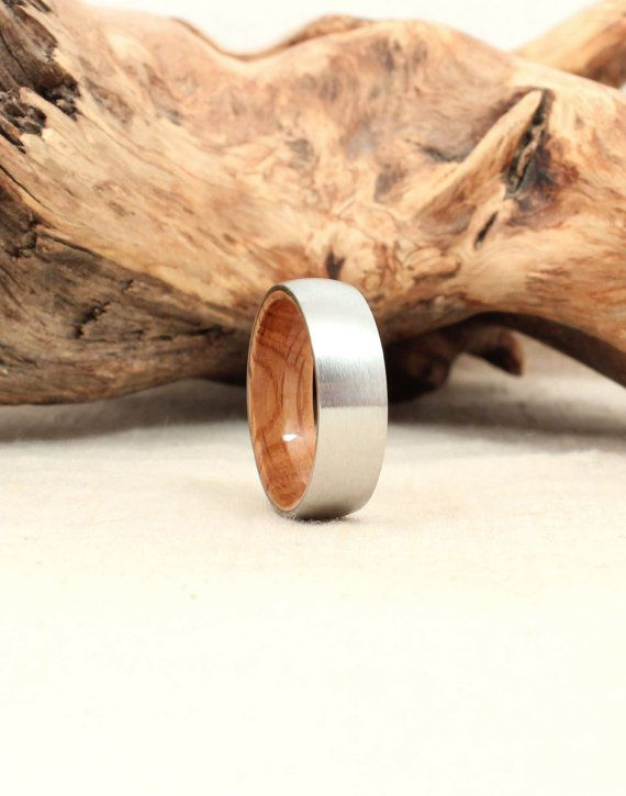 I want this!! Engaged or not!! Cobalt Wooden Ring Lined with Bourbon Barrel White Oak Wood Ring