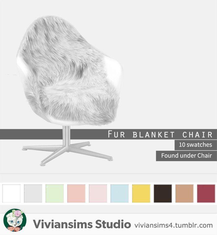 Vivian's Studio – Fur Blanket Chair 10 swatche … – #blanket #Chair # for #S …   – Sims 4