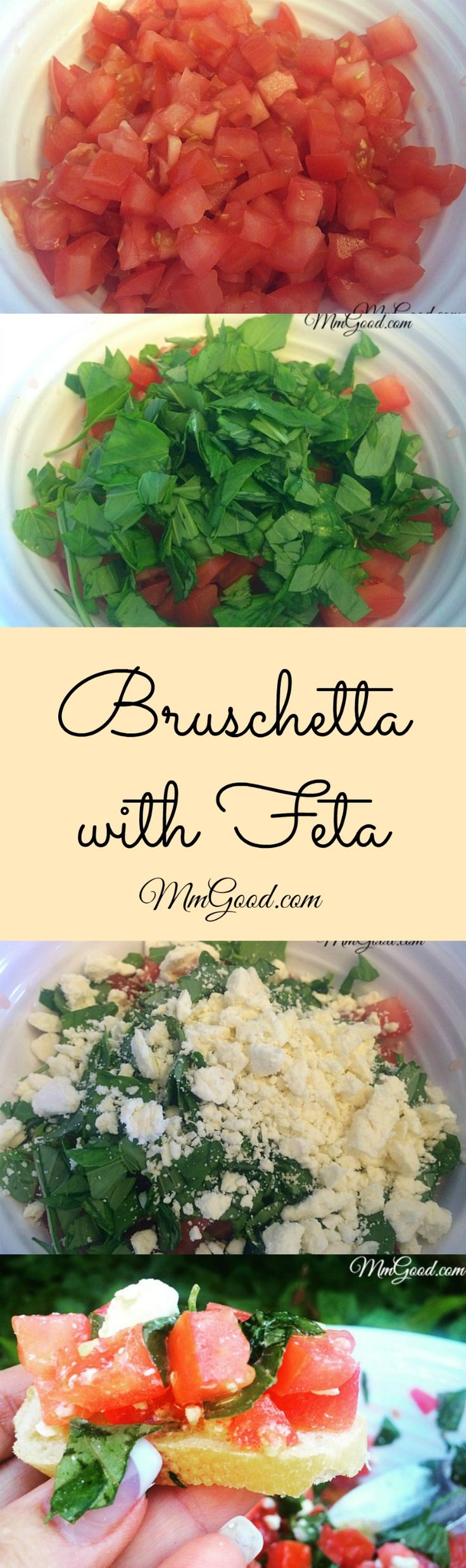 My recipe is a great twist to the traditional bruschetta by adding the feta cheese it not only adds texture but flavor. This is the perfect appetizer, side dish for summer bbq's, picnics or any gathering. | www.MmGood.com