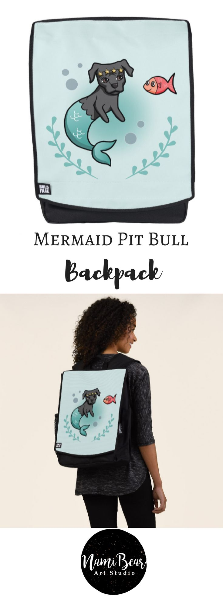 Mermaid Pit Bull Backpack This is a vector illustration of a mermaid pit bull and her little fish friend. The mermaid dog has a star crown on her head. There is a seaweed wreath at the bottom. #dog #dogs #dogLovers #whimsical #mermaid #ocean #sea #cartoon #pitbull #pitbulls #pet #pets #illustrations #illustration #gift #gifts #giftideas #giftforher #animal #animals #kids #children