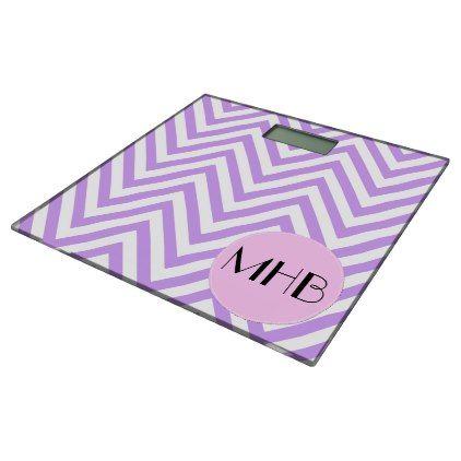Monogram Zigzag Chevron Pattern Purple Pink Bathroom Scale Gifts Unique Custom Diy