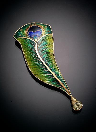 debbie sheezel, peacock feather vitrious enamel brooch in gold.