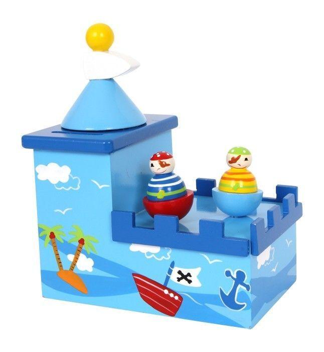 Spardose & Spieluhr  mit  Namen  Olli & Bolli  Pirat   Holz Neu  Holzspardose