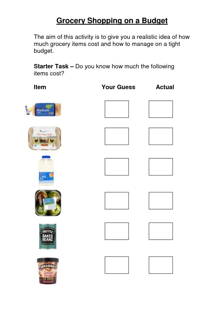 Grocery Store Worksheets Grocery Shopping On A Budget