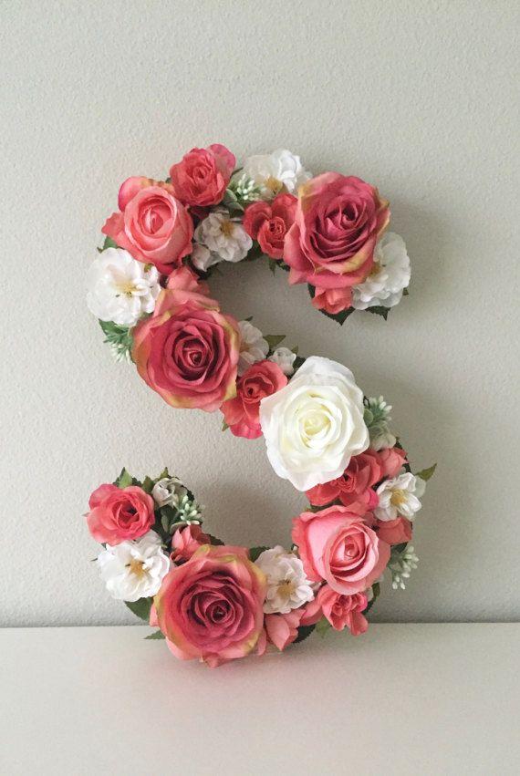 Shabby Chic Floral Letter 19 24 Flower Letter от BegoniaRoseCo