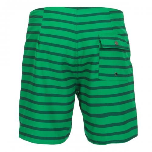 MID-LENGTH STRIPED NYLON BOARDSHORTS - Schulze Stripe nylon Boardshorts in a colored striped pattern, fixed waist with drawstring and Velcro fly, a back pocket with snap button, interior lining, Saturdays Surf NYC label sewn on the bottom. #mrbeachwear #stripes #summer #fashion #men #style #boardshort #sun #onlineshop #2014 #green #saturdayssurf