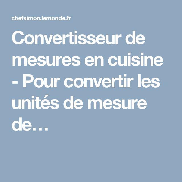 Convertisseur de mesures en cuisine - Pour convertir les unités de mesure de…
