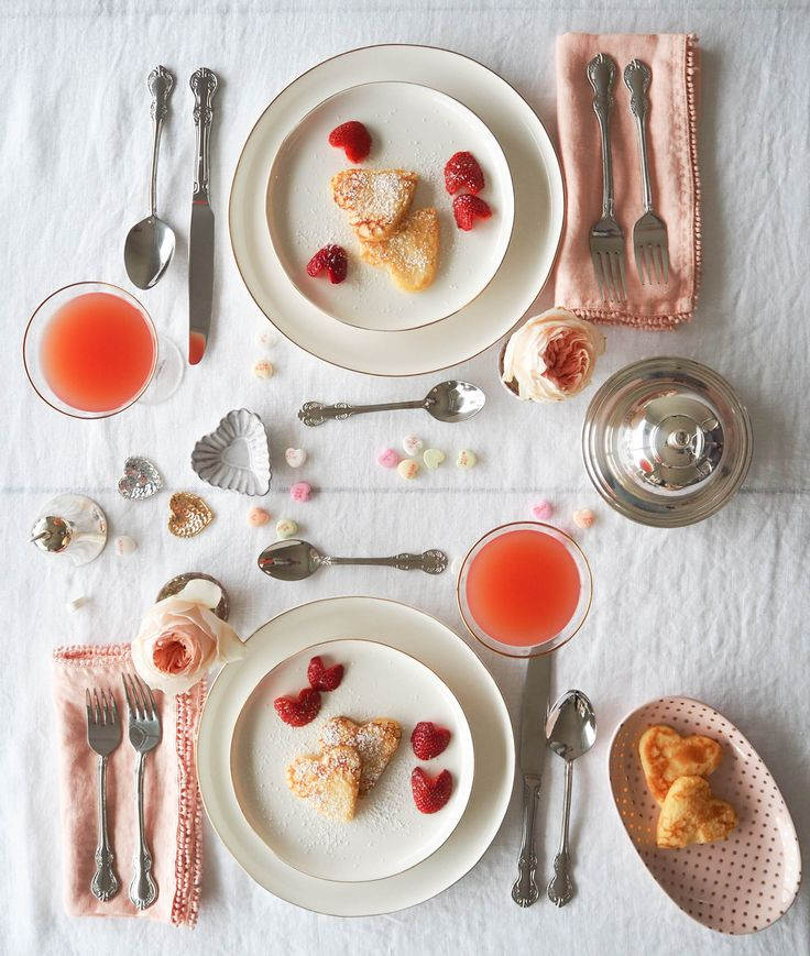 Valentines Day Breakfast table inspiration. Heart Shaped Pancakes.. and don't forget the icing sugar!