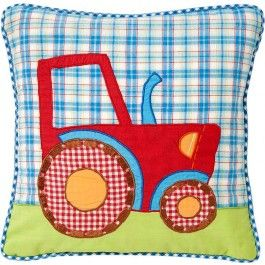 Kussenhoes 30x30 tractor/blue check