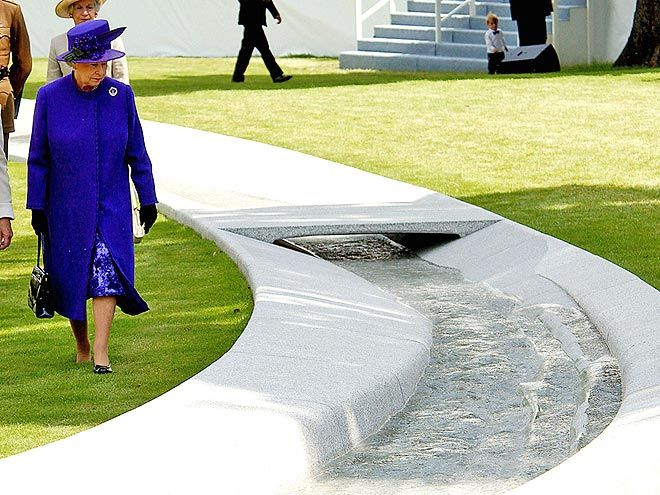 "HYDE PARK MEMORIAL FOUNTAIN   Queen Elizabeth unveiled an oval waterway in London's Hyde Park to commemorate Diana in July 2004. ""Of course there were difficult times, but memories mellow with the passing of the years,"" the Queen said, adding that the fountain was a ""highly original memorial, which captures something of the essence of a remarkable human being."""