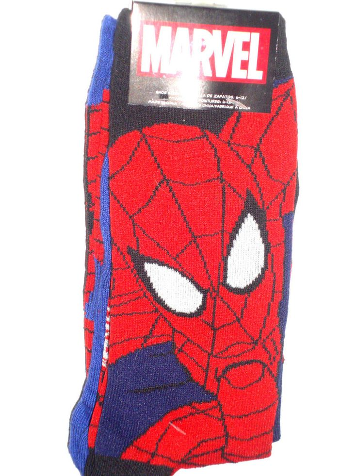 NEW Spiderman Socks TWO PACK 2 pair Marvel Comics Full Spider Man and Web RED #MarvelComicsbyHYP #Casual10inchCrew