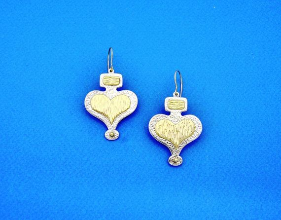 The Hearts. Silver Earrings. Handmade Jewelry. Gift for her. Birthday Gift.