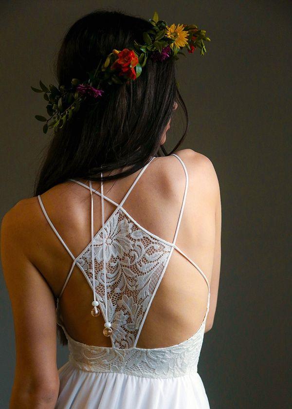 Boho wedding dress with lace racerback detail
