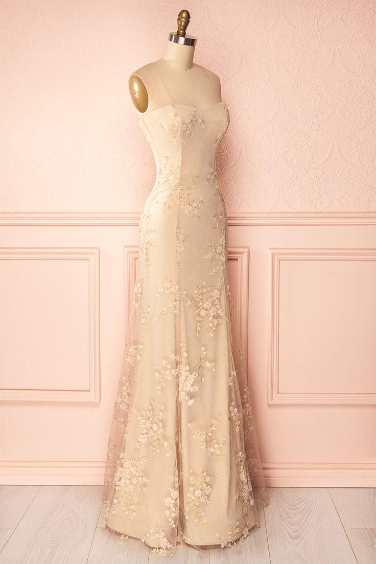 Robe de soirée longue bustier avec broderie de fleurs blanches velours brillants - Beige strapless gown with ivory shimmering flowers embroidery