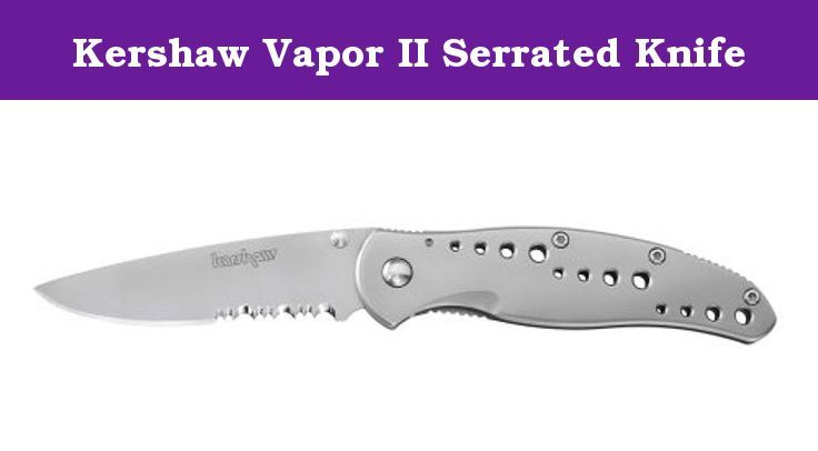 """Kershaw Vapor II Serrated Knife. The Vapor II is a quality folding knife, value priced. The 410 stainless-steel, decoratively drilled handle has a sleek, high-tech look with smooth one-handed, manual opening. The 3 1/2 inch AUS6A stainless-steel, partially serrated blade locks into position when deployed. 4 1/2"""" Closed."""