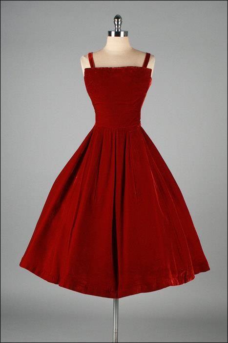 Vintage red velvet.  Perfect little Christmas party dress.