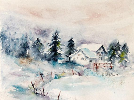 Aquarelles Watercolors From Thierry Duval Paysage Hiver
