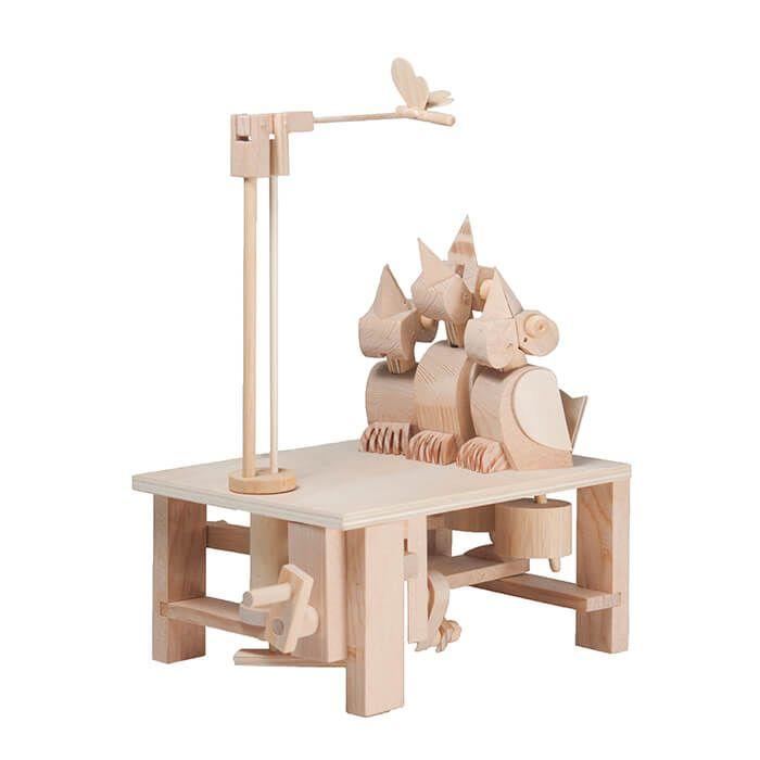 Mechanisch houten bouwset pikkende vogeltjes
