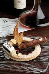 White chocolate coconut sherbet, hazelnut financier, rum chocolate ...