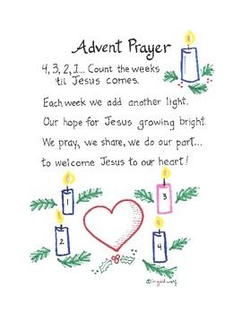 Cute Advent prayer/poem to help students count the weeks until Christmas. Includes a guide to teach gestures to go along with the prayer.