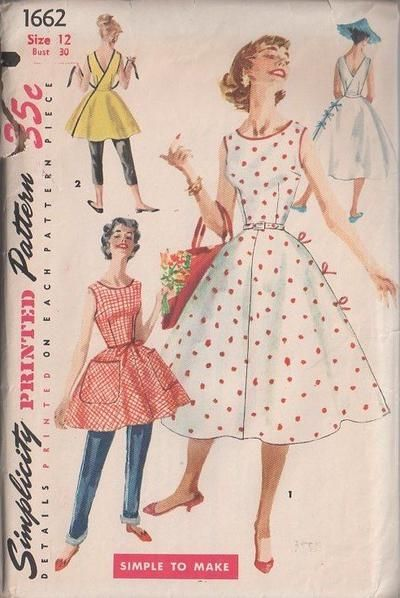 MOMSPatterns Vintage Sewing Patterns - Simplicity 1662 Vintage 50's Sewing Pattern CAPTIVATING Rockabilly Lucy, Mad Men Wrap Around Circular Skirt Sundress, Tie On Sun Dress, Wrap Apron Top, Hostess Aprons