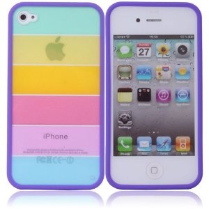 Zone Shop (TM) Rainbow Hard Plastic Protective Skin Case Slim Fit with Purple Border for iPhone 4 / 4S 4th Generation AT / Verizon 16GB / 32 GB