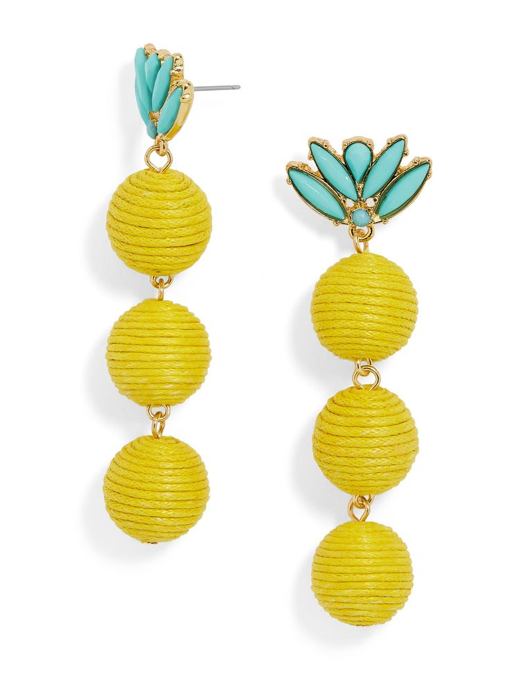 A turquoise stud lends a whimsical touch this pineapple-inspired silhouette. Pair with a flowy skirt and bright colors.