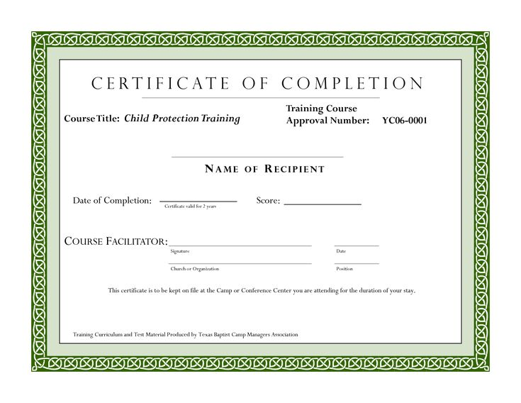 25 best ideas about Certificate of completion template on – Sample Certificate of Training Completion