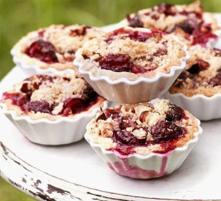 These little crumble pies just beg to covered in custard or dolloped with clotted cream. One just isn't enough