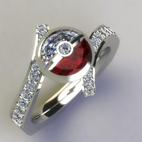 Diamond & Ruby Pokeball Inspired 14k White by PaulMichaelDesign