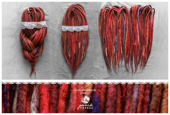 wool dreadlocks, woolen dreads, handmade dreads, hair extension, dreads extension, woolies, festival, alternative, red, felt CUSTOM 30DE