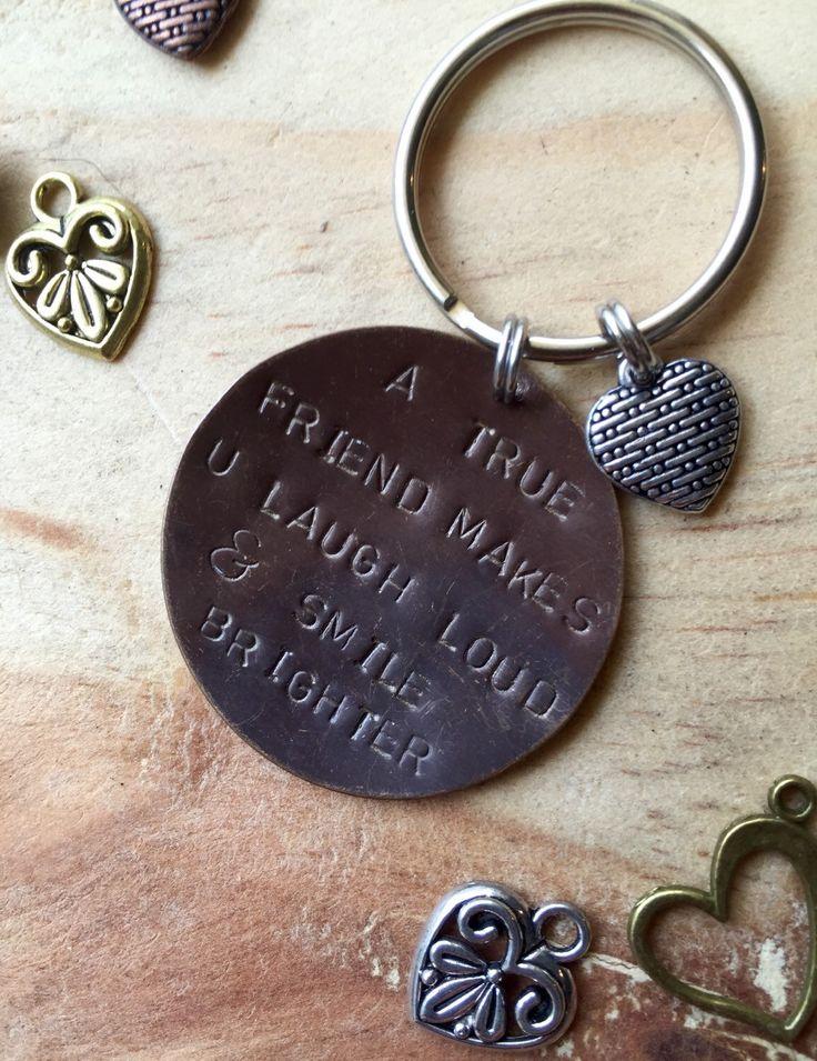A personal favorite from my Etsy shop https://www.etsy.com/listing/270779644/best-friend-gift-best-friend-keychain
