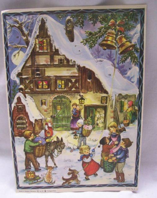 vintage german advent calendar by rs stuttgart rohr. Black Bedroom Furniture Sets. Home Design Ideas