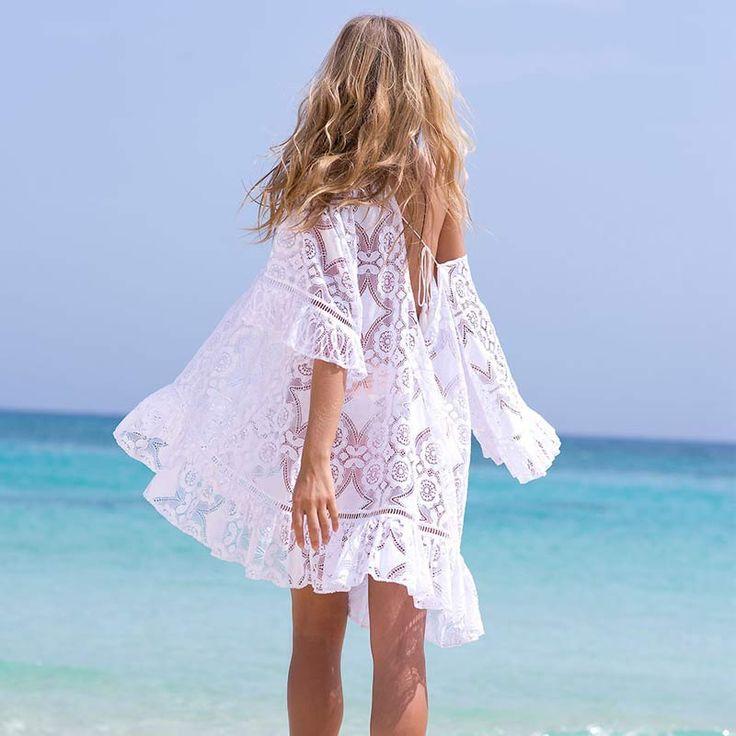 Women Swimsuit Cover-up Beach Bathing Suit Beachwear Knitting Swimwear 2