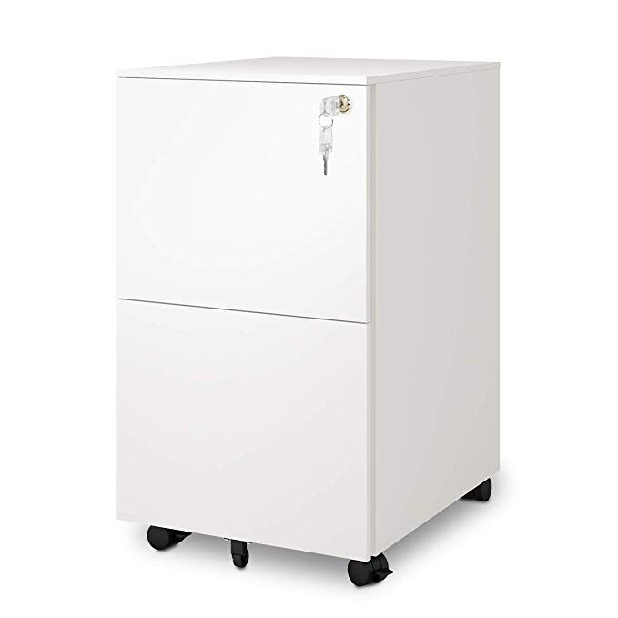Devaise 2 Drawer Mobile File Cabinet With Lock Commercial Vertical Cabinet In White Review Filing Cabinet Mobile File Cabinet Cabinet