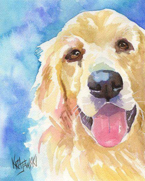 Golden Retriever Art Print d'aquarelle originale par dogartstudio
