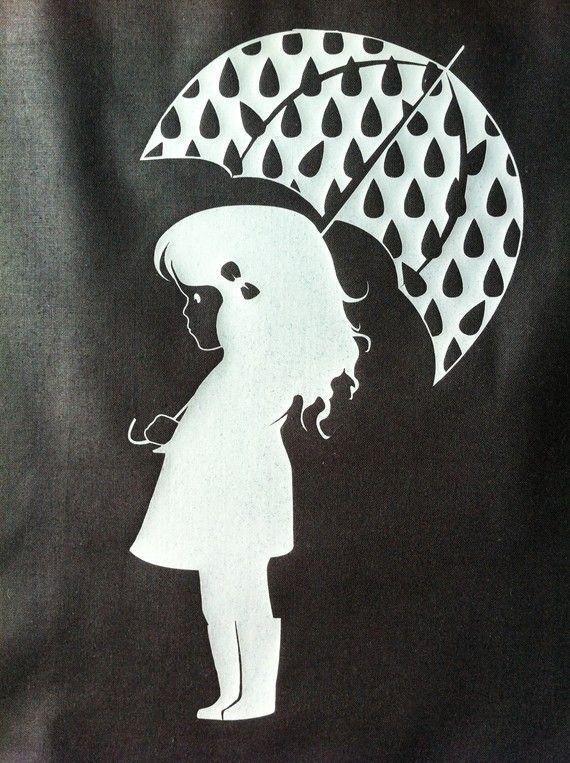 fille au parapluie en flex thermocollant argent